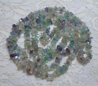 VINTAGE MULTI COLOR FLUORITE STONE BEADED NECKLACE 36 INCH