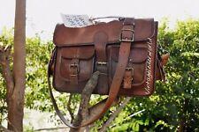 New Men's Vintage Genuine Brown Leather Messenger Shoulder Laptop Bag computer