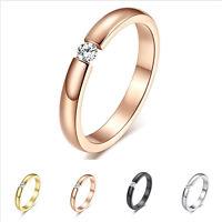 3MM Black/Silver/Rose/Gold CZ Titanium Steel Ring Men/Womens Wedding Band Sz5-10
