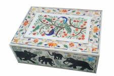 "8"" x 6"" Marble Jewelry Trinket Box Semi Precious Stones Handmade Inlay Art Work"