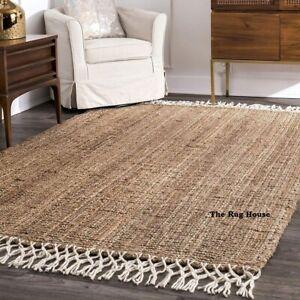 Jute Rug 100% Natural Loom Braided Style Rectangle Floor Rug Living Area Rag Rug