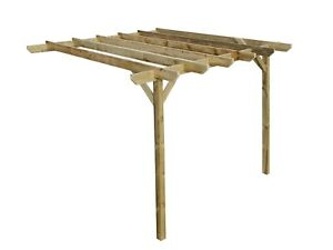 Wooden Lean-To Garden Pergola Kit Chamfered Design - 21 Size & 2 Colour Options