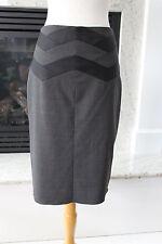 BCBG MAXAZRIA Gray Black Pinstripe Well Tailored Back Flare Pencil Skirt 2  XS