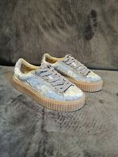 Public Desire Womens Lace Up Chunky Wedge Grey Velvet Trainers Creepers Size 3