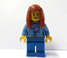 Lego Female Girl Minifigure Figure Blue Jacket Long Straight Hair Winter Xmas