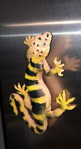 "Vintage Imperial Lizard 8"" Hollow Rubber Figurine Orange Yellow Black Bands Dots"