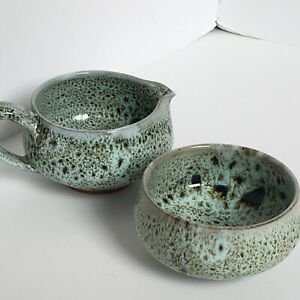 Creamer And Sugar Set Speckled Glaze Green Brown Red Ware Mint Cond Drip Ceramic