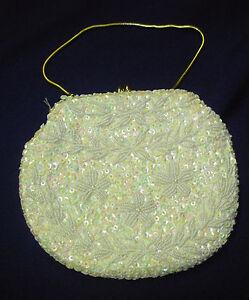 vtg Beaded Sequin Evening Handbag iridescent ivory gold chain handmade Hong Kong