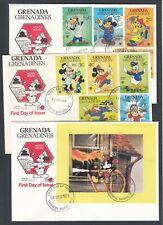 1979 Grenada Grenadines Occupations Disney Set of THREE covers FDC Disney Mickey