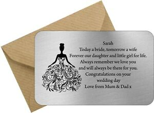 Personalised Daughter Bride on your wedding day from mum and Dad or Mum or Dad