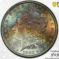 1880-P USA MORGAN SILVER DOLLAR PCGS MS62 UNC CHOICE TONED GEM COLOR BU #1 (DR)