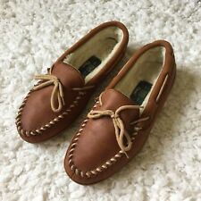 Orvis Mens Brown Leather Sherpa Lined House Shoes Slippers Moccasins Sz 9 M