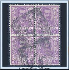 1901 Italia Regno Floreale cent. 50 malva n. 76 Quartina Usato