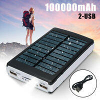 100000mAh Waterproof 2USB Solar Power Bank Portable Battery Charger For Phone