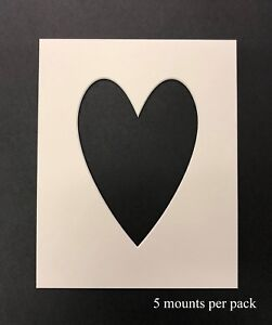 8 X 10 Inch Heart Shaped Mounts to fit 5 x 7 inch Picture/Photo -5 PACK - White