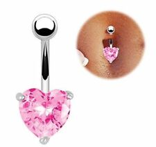 UK Petite Heart Belly Button Bar Stainless Steel Bars Navel Piercing Dangle Drop