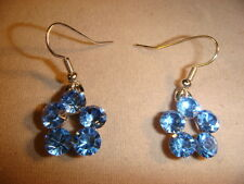 Forget me not earrings French hook Austrian crystal unique open center sparkly