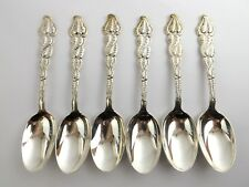 Conjunto de Seis Cucharas De Plata Maciza Art Nouveau atlantus patrón Tiffany & Co Usa 1899