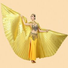 Egyptian Metallic Golden Belly Dance Costume Isis Angle Wings With Stick & Bag