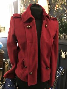 Vintage Red  military Warehouse  Jacket Size 8 Wool