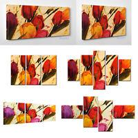 Quadro Moderno Fiori Tulipani Stampa su Tela Canvas Vernice Pennellate a Rilievo