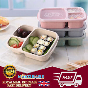 UK 2xMicrowave Bento Utensils Lunch Box Picnic SuShi Food Container Storage Box