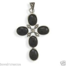 """Onyx Marcasite .925 Sterling Silver Cross Pendant NEW Great Gift 1.75"""" 6g"""