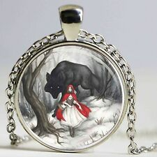 UK LITTLE RED RIDING HOOD PENDANT NECKLACE / Jewellery Gift Idea Wolf Fairytale