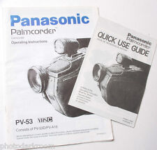 Panasonic Pv-53 Palmcorder Vhs-C Camera Owners Manual Guide Book - Used B23