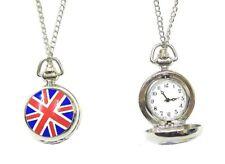 Ladies Silver Union Jack Flag Pocket Quartz Watch Necklace Pendant Chain Gift