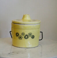 Vintage Yellow Flower Stoneware Butter Crock with Wire Lid Mid-Century EUC!