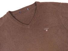 g6262 GANT Jersey Suéter Cuello en V Original Premium Básico Marrón Talla L