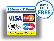 Contactless Card Payments Sticker Credit Card Taxi Shop VISA Mastercard Maestro