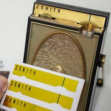 Zenith Royal 500H Transistor Radio Gold Dial Replacement Labels 3-Up IMPROVED!