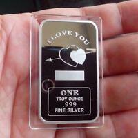 1 Troy oz  .999 Fine Silver Bar  Bullion /  I love U       SB135