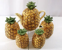 RARE VTG 5 Piece 1985 Otagiri Japan Hand Crafted Pineapple Coffee Tea Set