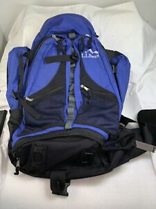 LL Bean Blue & Black Backpack Day Pack Canvas Hiking Outdoors Travel -LARGE SIZE