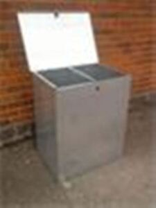 MEDIUM GALVANISED FEED BIN TWO COMPARTMENTS