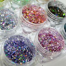 Holo Glitter Puder Set Rainbow Hologramm 12 Farben Nailart Nageldesign