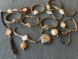 Vintage Watch lot 15 pcs. Hamilton, Bulova, Seiko, Croton, Roamer, + misc.