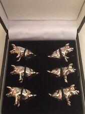More details for set of 6 vintage silver plated pig piglet place name holders in original box.