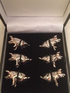 Set Of 6 Vintage Silver Plated Pig Piglet Place Name Holders In Original Box.