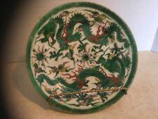 Antique/Vintage Signed Asian Porcelain Plate with Famille Verte Dragon Design