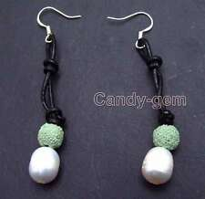 Big 10-11mm Rice Natural FW White Pearl Dangle Leather earring & Green Lava-e432