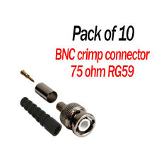 10 x   RG59 BNC CRIMP connectors for HD 75 Ohm with Cable Boot for CCTV cameras