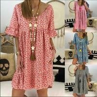 Plus Size Women Boho Floral Casual Baggy Tunic Dress Summer Loose Beach Sundress