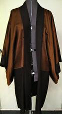 VTG SILK KIMONO FORMAL LONG JACKET COAT REVERSIBLE BLACK BROWN FIVE CRESTED EUC