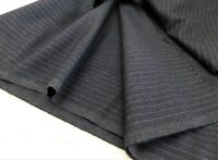 100% Wool Suiting Fabric Charcoal Dark Gray Pinstripe 1.5+yds 60W