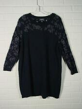 Lands End dress wool blend shift blue w/ lighter semi sheer floral insets 3X