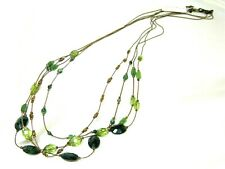 "M. Haskell Copper Gold Green Vintage style Crystal Strand Necklace 30"" inch"